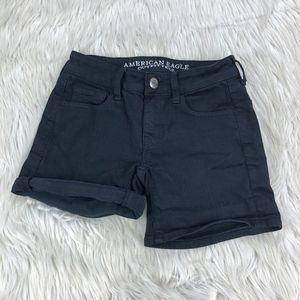 AEO Black Super Stretch Midi Shorts